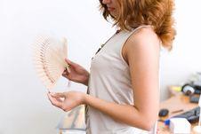 Free Girl In Office Unfold Fan Stock Image - 4390231