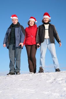 Free Three Friends Stand On Snow Stock Photos - 4391453