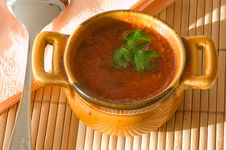Free Cup Of Tomato Soup On Bamboo Serviette. Royalty Free Stock Photography - 4393327