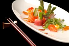 Free Sashimi On A White Plate With Chop Sticks Royalty Free Stock Photo - 4393855