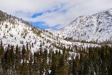 Snowy Mountains Near Lake Tahoe Royalty Free Stock Photo