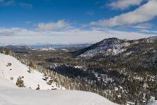 Snowy Mountains Near Lake Tahoe Stock Photography