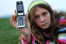 Free Young Girl And Cellphone Royalty Free Stock Photo - 4394765