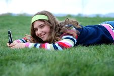 Free Young Girl And Cellphone Stock Photo - 4394770