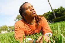 Free Man On Grass Stock Photo - 4395850