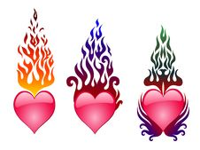 Free Three Hearts On Fire Royalty Free Stock Images - 4396359