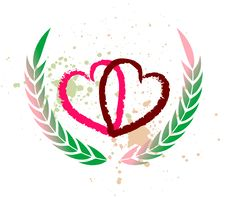 Free Two Hearts And Laurel Branches Royalty Free Stock Images - 4396369