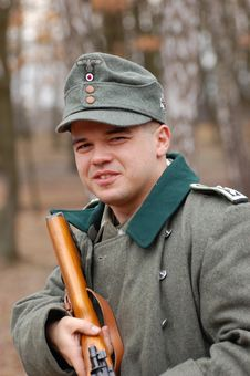 Free German Soldier. WWII Reenacting Royalty Free Stock Photos - 4396568