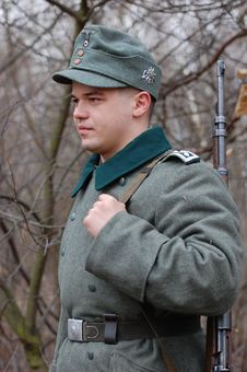German Soldier.  WWII Reenacting Royalty Free Stock Images