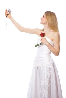 Free Young Bride Make Self-portrait By Portable Camera Royalty Free Stock Photography - 4397547