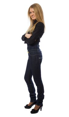 Free Beauty Girl Dressed In Dark Blue Jeans Royalty Free Stock Images - 4397599