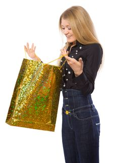 Free Young Girl Open Shopping Bag Stock Image - 4397631