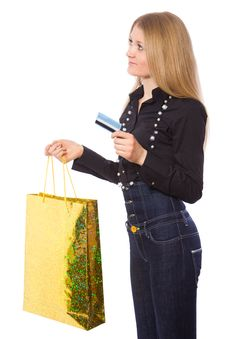Young Girl With Credit Card And Shopping Bag Royalty Free Stock Images