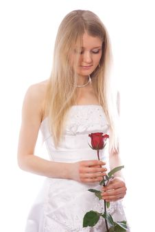 Free Young Sad Bride With Red Rose Stock Images - 4397694