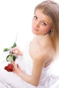 Free Young Smiling Bride With Rose Royalty Free Stock Photo - 4397705