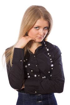 Free Beauty Sad Girl Dressed In Black Shirt Royalty Free Stock Image - 4397746