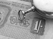 Free One Shilling Note And Watch Royalty Free Stock Images - 446459