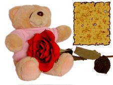 Free Cuddle Doll Holding Rose With Love Letter Royalty Free Stock Images - 447789
