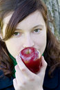 Free Young Woman And Red Apple Royalty Free Stock Photo - 4404245