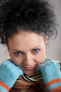 Free Girl In Blue Gloves Stock Image - 4407311