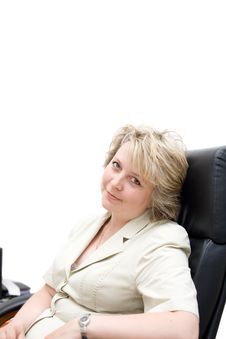 Free Mid-life Business Woman In Chair Royalty Free Stock Image - 4400036