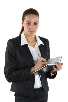 Girl With Notebook Stock Photo