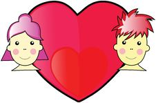 Valentine Boy And Girl WIth Love Heart In The Midd Stock Photo