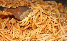 Spaghetti On Fork Stock Photo