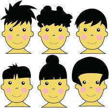 Free 6 Cute Asian Kids Vector Illustration Stock Photo - 4401800