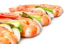 Large Shrimps With Vegeables Royalty Free Stock Photography