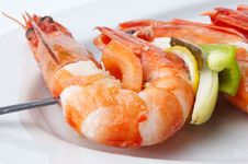 Large Shrimps With Vegeables Stock Photo