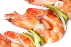 Large Shrimps With Vegeables Royalty Free Stock Photo