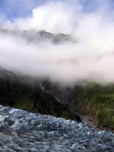 Fox Glacier With Clouds Royalty Free Stock Photo