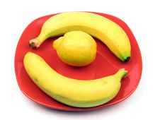 Banana On The Plate Stock Images