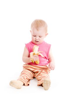 Girl With A Banana Royalty Free Stock Images