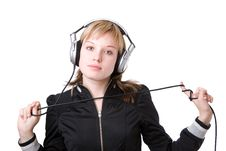 Free Girl With A Cable Of Earphones Royalty Free Stock Photos - 4402558