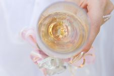 Free Two Wedding Rings In A Glass Of Champagne Stock Image - 4402621