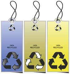 Free Set Of 3 Sale Tags With Recycling Icons Stock Photos - 4403363