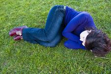 Free Young Woman On The Grass Royalty Free Stock Images - 4404009