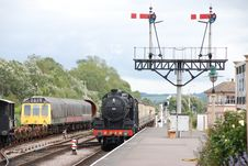 Free Steam Train Approaching Signal Stock Image - 4404311