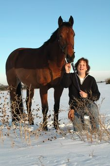 Free Woman And Horse In Winter Royalty Free Stock Photos - 4404428