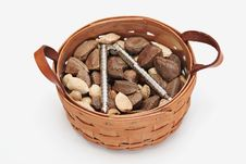 Basket Of Nuts Stock Photo
