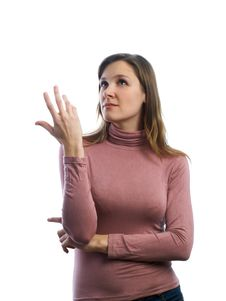 Free Girl Pointing Up Stock Images - 4405214
