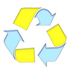 Free Blue Yellow Recycle Symbol Royalty Free Stock Photo - 4406395