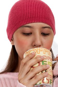 Female Girl Sipping A Coffee Royalty Free Stock Images