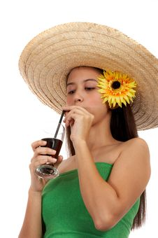Girl Sipping A Cold Drink Royalty Free Stock Photo