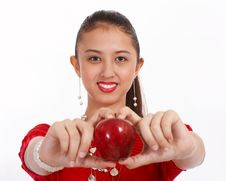 Free Woman Holding Red Apple Royalty Free Stock Photos - 4407798