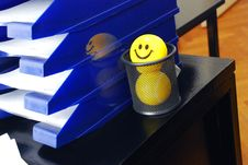 Free Yellow Smiley Ball In Pen Box Royalty Free Stock Photos - 4409068