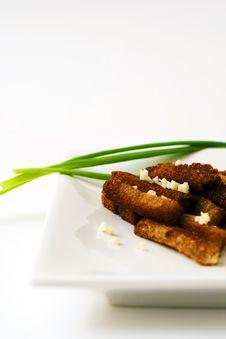 Rusk With Spring Onion. Royalty Free Stock Photos