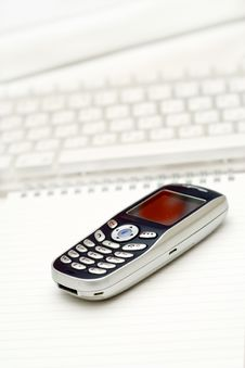 Mobile Phone And Keyboard. Stock Photography